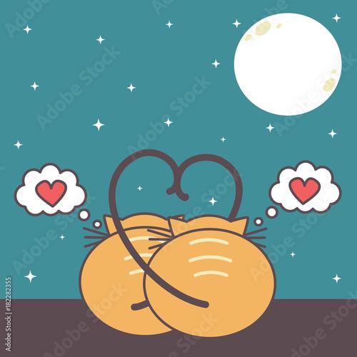 Fototapeta two cats in love watching the moon. cute romanitc cartoon vector illustration