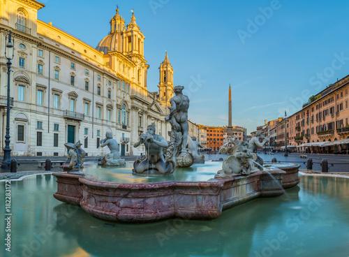 Poster Blauw Piazza Navona Rome