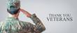 Caucasian Soldier Saluting Veterans Day.