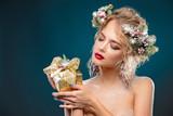 nude girl with gift - 182284369