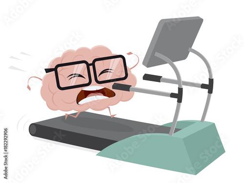 funny brain training on a treadmill - 182292906