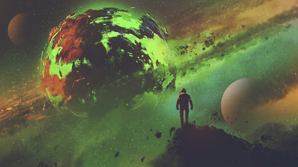 sci-fi concept of an astronaut standing on huge rock looking at the acid planet, digital art style, illustration painting © grandfailure