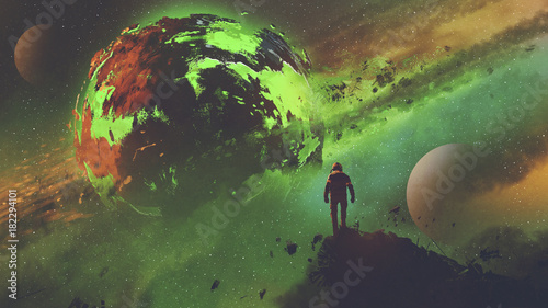 sci-fi concept of an astronaut standing on huge rock looking at the acid planet, digital art style, illustration painting