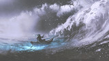 man rowing a magic boat in stormy sea with rogue waves, digital art style, illustration painting - 182295156