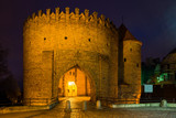 Night view at Barbican fortress (castle) in old town Warsaw, Poland - 182295356