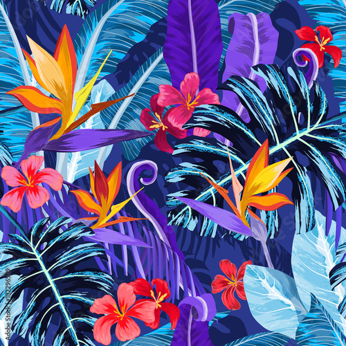 Fototapeta Seamless pattern with tropical flowers and plants