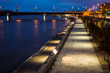 Vistula boulevards at night in Warsaw city, Poland