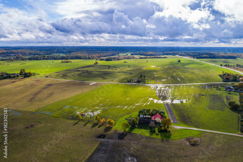 Fotobehang Purper Aerial view of amazing summer landscape. Fields and meadows from above.