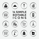 Set of 14 city filled and outline icons