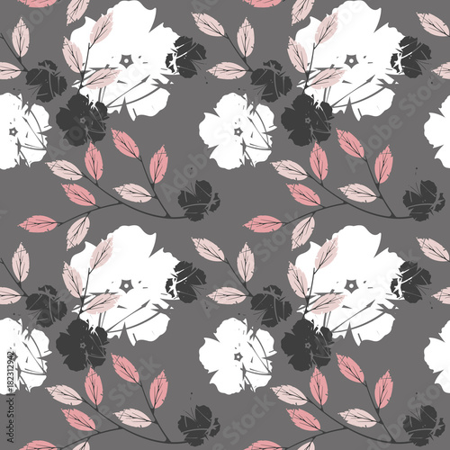 Poster Vlinders in Grunge Decorative seamless pattern with cute flowers and leaves