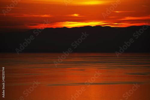Fotobehang Rood traf. Sunset light over Lake Geneva, Canton of Vaud, Switzerland