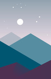 Landscape mountain silhouettes at night in a modern style. A picture of nature for the design of brochures and banners flat. Illustration