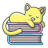 Sleeping cat icon, cartoon style