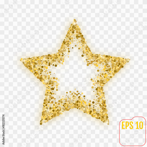 Vector luxury gold star. Element for advertising poster for restaurant, boutique and cafe, jewelry, fashion and party. Flat cartoon vector illustration. - 182321374