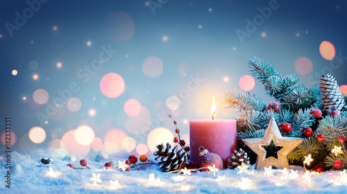 Fototapeta Red Candle With Christmas Decoration