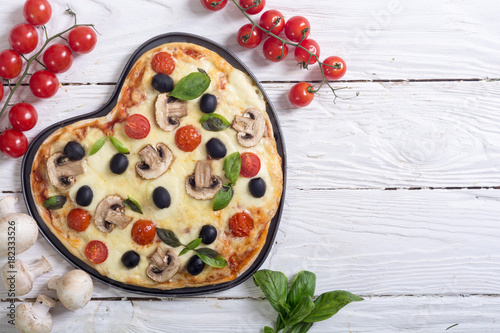 Italian pizza heart Poster