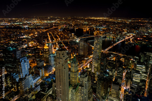 New York Skyline Cityview Manhatten Night from World Trade Cente Poster