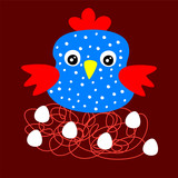 cute blue chicken cartoon vector