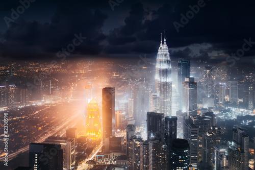 Fotobehang Kuala Lumpur Aerial skyline view to Kuala Lumpur city, Malaysia. Business skyscrapers night downtown background