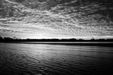 Black and white-sunset over ice