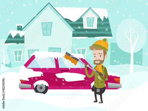Fotobehang Auto Young caucasian white man cleaning his car window from snow and ice with a brush on the street in the winter. Man removing snow from car with the help of special broom. Vector cartoon illustration.