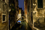 Canal alley with boats and gondola romantic Venice - 182343942