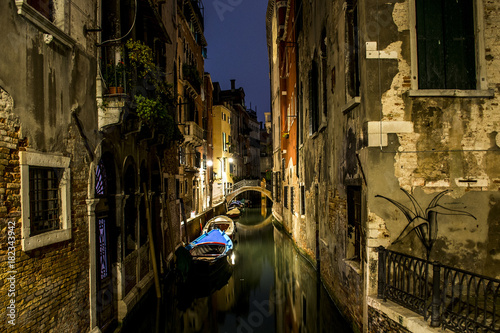 Deurstickers Venetie Canal alley with boats and gondola romantic Venice