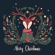 Christmas greeting card with deer and decorative seasonal branches