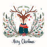 Christmas greeting card with deer and decorative seasonal branches - 182344577