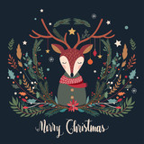 Christmas greeting card with deer and decorative seasonal branches - 182344585