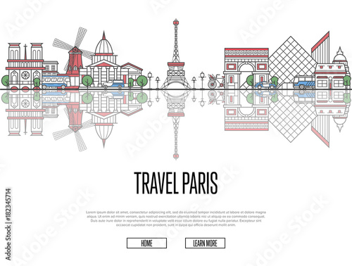 Poster Travel tour to Paris poster with famous architectural attractions in linear style. Worldwide traveling and time to travel concept. Paris panorama with landmarks, tourism and journey vector banner