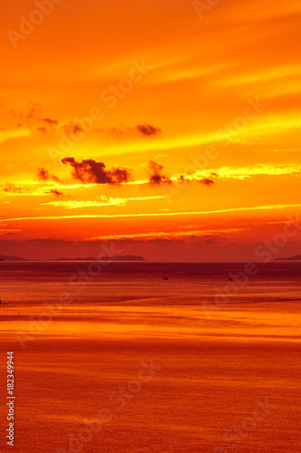 Foto op Canvas Baksteen 御輿来海岸から望む有明海の夕焼け