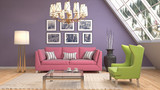 Interior living room. 3d illustration - 182353387
