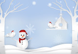 Christmas season with snowman and couple birds winter background paper art style, paper cut illustration