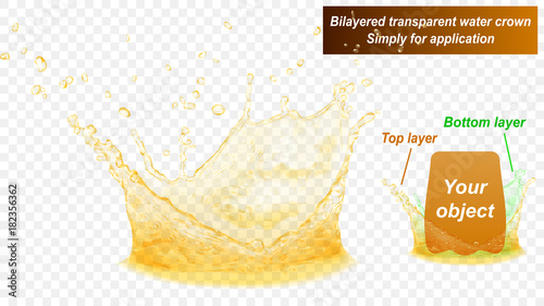 Translucent water splash crown consist of two layers: top and bottom. In yellow colors, isolated on transparent background. Transparency only in vector file