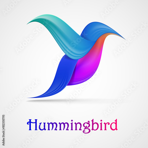 Poster Geometrische dieren Hummingbird abstract symbol. Illustration isolated on background. Graphic concept for your design