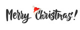 Merry Christmas card. Hand drawn lettering. Great for gift tags and labels. - 182359798