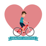 healthy lifestyle man riding bike vector illustration graphic design