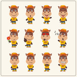 Set of horse little boy in cartoon style. Collection of isolated horse in clothes and cap.