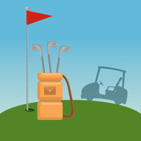 golf car and equipment on golf course vector illustration graphic design