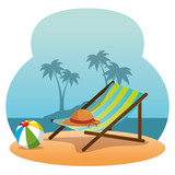 wooden beach chair on a beach landscape summer holiday vacation vector illustration graphic design - 182362909