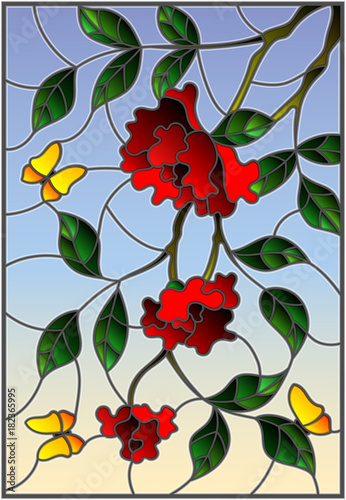 illustration-in-stained-glass-style-with-flowers-leaves-of-rose-and-butterflies-on-the-sky-background