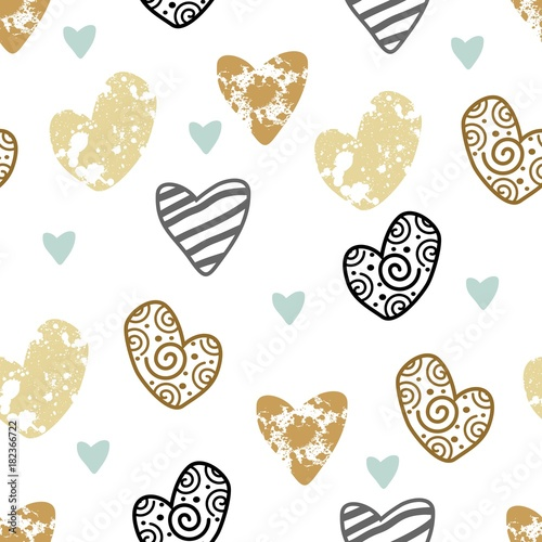 Seamless pattern with hand drawn hearts. Festive labels. - 182366722
