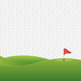 Golf background. Golf course with a hole and a flag.