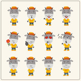 Set of goat little boy in cartoon style. Collection of isolated goat in clothes and cap. - 182369724