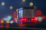 lonely truck in fog at night and colored light - 182370948
