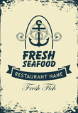 Vector banner for seafood restaurant with an anchor, rope and inscription Fresh fish on the beige grunge background in retro style.