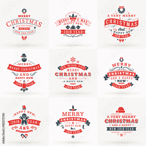 Set of Merry Christmas and Happy New 2018 Year Decorative Badges for Greetings Cards or Invitations. Vector Illustration in Red and Gray Colors