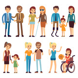 Happy disabled people in sport and social activities. Vector flat characters set