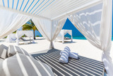 Luxury beach scene and loungers and sea view - 182376322
